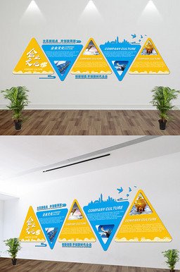 三角设计展板企业文化墙