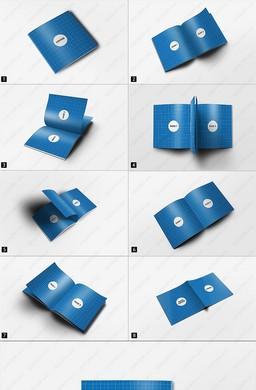 8视角高精方形胶印书籍画册样机模板PSD素材