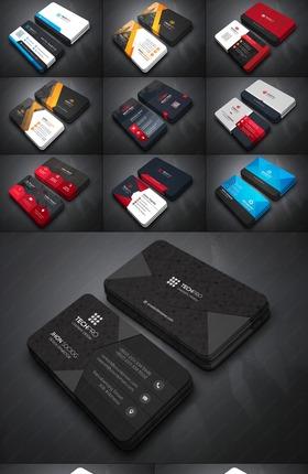 34款X4套色精致商业名片PSD模板