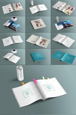 6视角方形书籍展开效果样机PSD模板