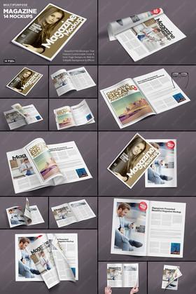 14角度完美书籍杂志展开效果图样机模板智能贴图素材PART:1/2