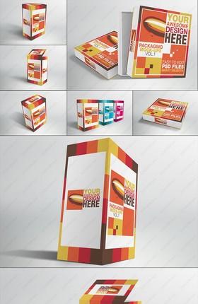 7视角高的扁的纸质包装盒样机模板PSD素材