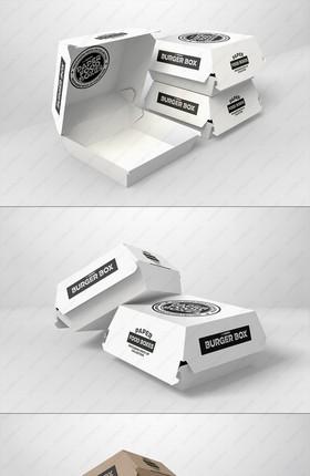 漢堡盒紙包裝模型樣機PSD模板