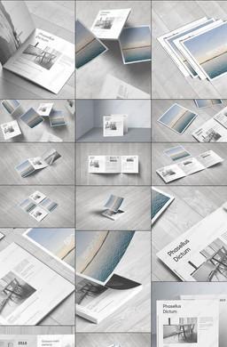 12款组合视角高精正方形三折页样机模板PSD素材