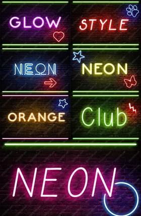 7款7色酒吧夜店霓虹灯发光字ALS样式&PSD模板素材