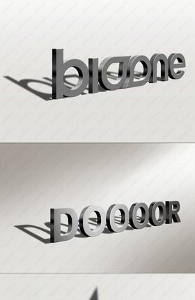 侧影3D立体字LOGO样机模板