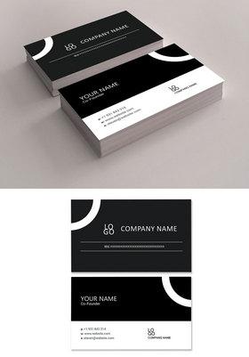 简洁黑白商务名片设计模板