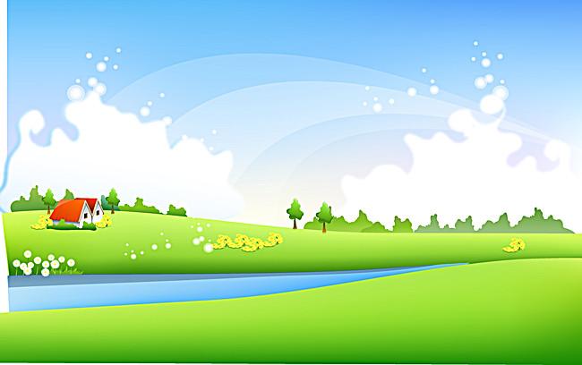 手绘 卡通 蓝天白云 河流背景 童趣