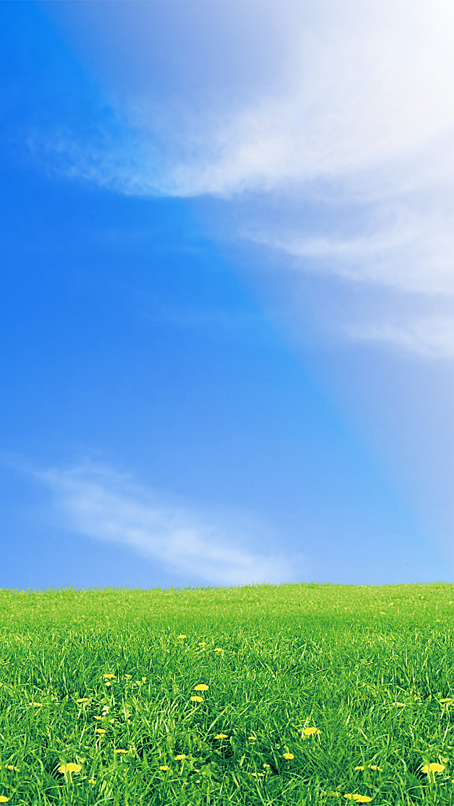 蓝天白云草地h5图片素材