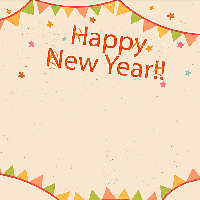 手绘 新年快乐 彩旗 背景 卡通 童趣图片