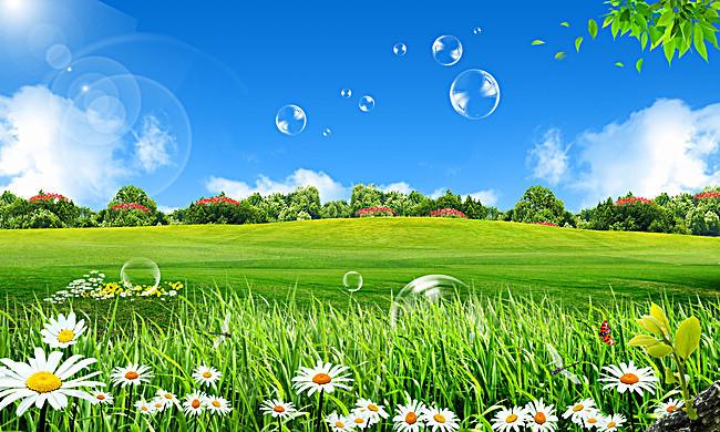 蓝天白云绿草地背景素材