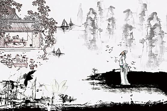 中國風 蒹葭 詩經壁畫海報背景素材