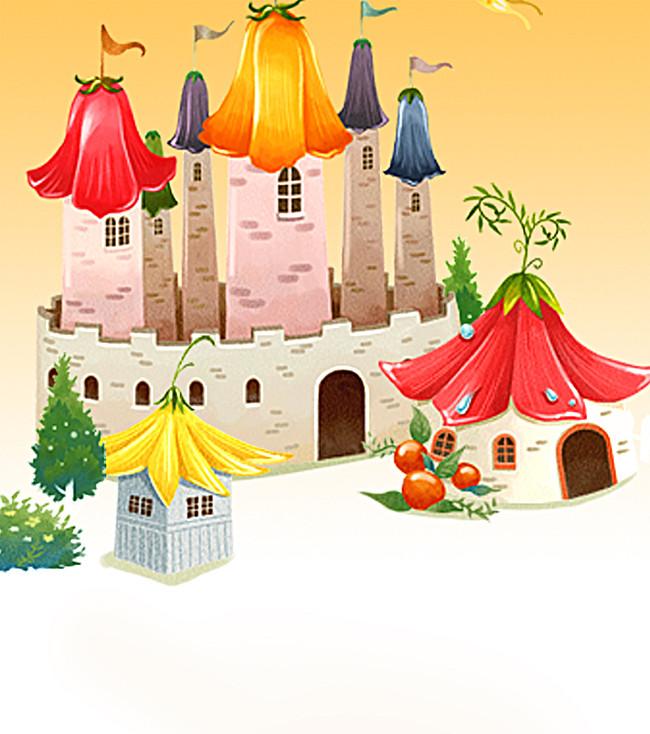 > 清新卡通城堡格林童话背景素材图片