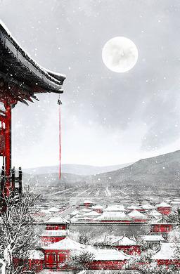 古风学术研讨古楼雪景动漫背景素材