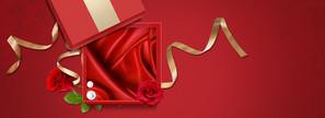 38妇女节渐变丝带礼物红banner
