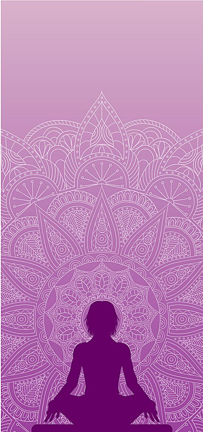 女人节 紫色 瑜伽 清新 唯美 花纹 海报 背景图片