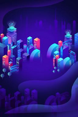 彩色科技炫酷海报背景