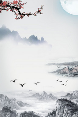 復古中國風水墨背景圖