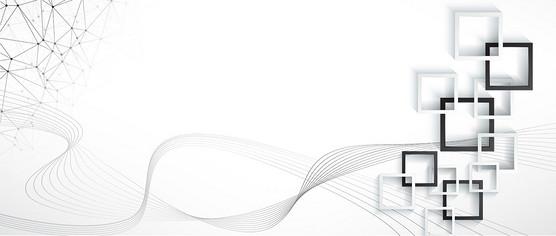 商务科技几何流动线条白色banner