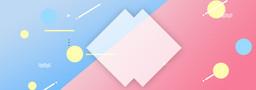 蓝色粉色拼接几何色块banner
