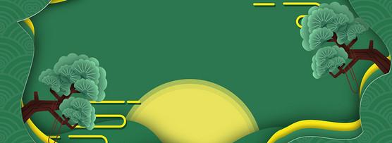 绿色圆月中秋节背景