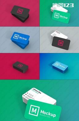3款彩色圆角名片效果图PSD素材