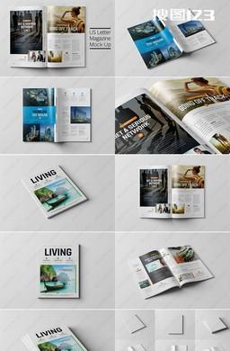 高精8角度书籍杂志效果图PSD样机模板