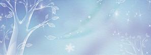 立冬節氣小清新樹葉夢幻藍色banner
