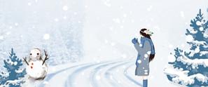 雪景文藝女孩雪人藍色banner