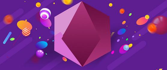 疯狂抢购双11几何卡通紫色banner