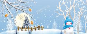 冰寒冬天堆雪人雪松蓝色banner