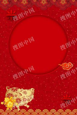 2019猪年新年金猪花朵海报背景