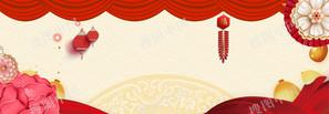 新年中国风剪纸猪年喜庆春节促销背景