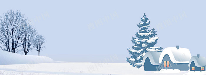 冬季雪地房屋小寒banner背景