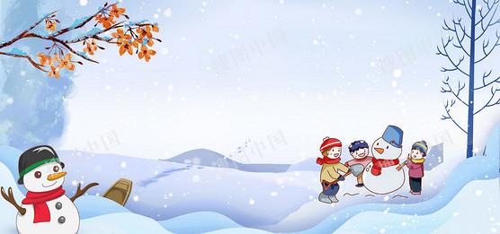 冬季雪人卡通藍色背景