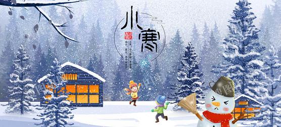 卡通雪人童趣背景