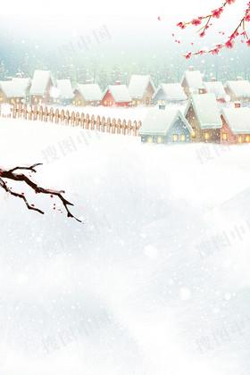 中国风清新简约大雪节气海报
