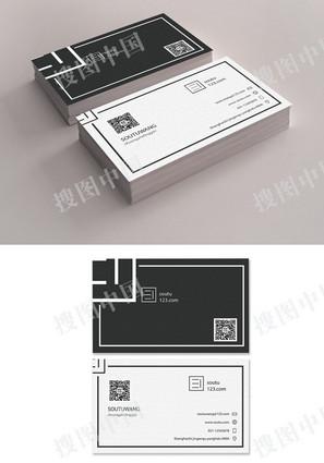 黑白几何线条名片设计