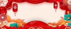 剪纸风猪年春节喜庆背景