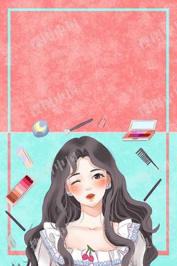 插画风38妇女节女生节女神节手绘海报