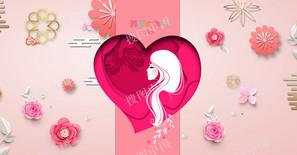 妇女节女神节女王节立体花朵文艺清新海报