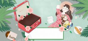 女王节春天手绘海报背景