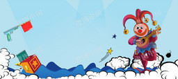 愚人節卡通童趣藍色banner