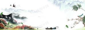 谷雨中国风山河燕子背景