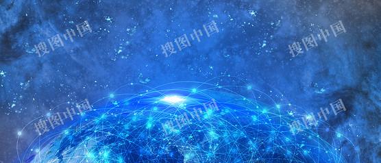 蓝色星空大数据科技背景