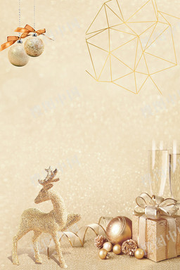 圣诞节金色卡通促销雪花背景