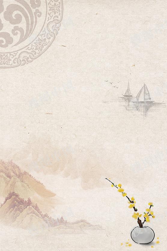 中国风水墨淡雅山水花鸟海报背景