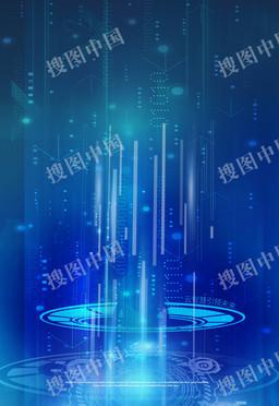 蓝色机器人科技背景海报