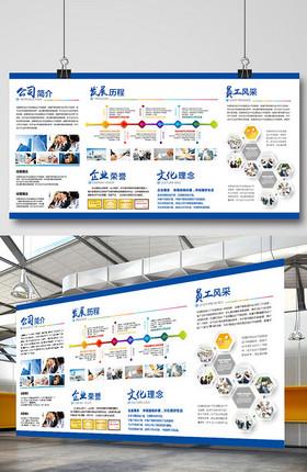 蓝色大气企业发展历程文化墙