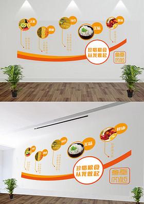 橙色立体食堂文化墙
